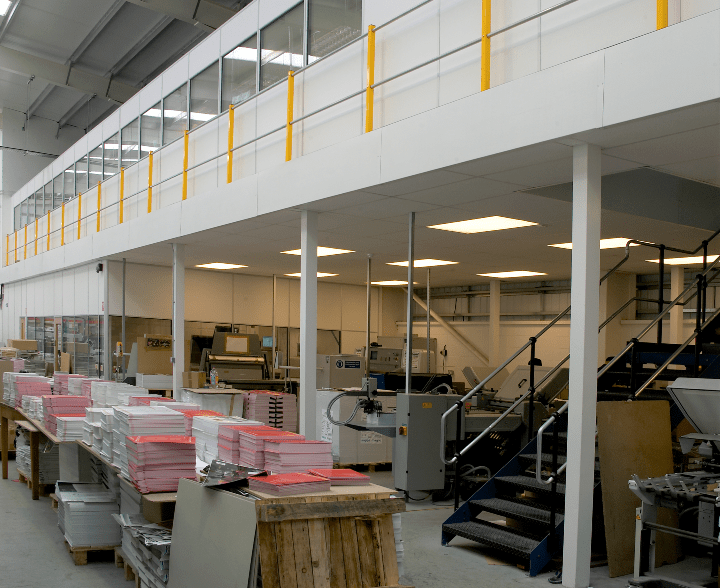 Office Mezzanine Floor with Production Underneath