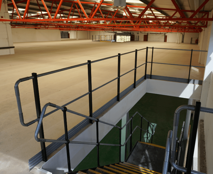 Storage Mezzanine With Staircase And Handrail
